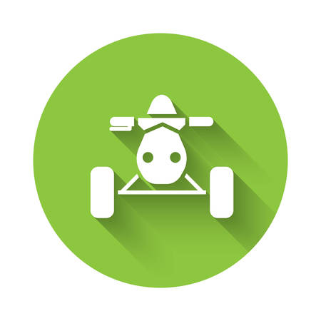 White All Terrain Vehicle or ATV motorcycle icon isolated with long shadow. Quad bike. Extreme sport. Green circle button. Vector Illustration
