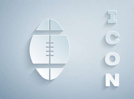 Paper cut Rugby ball icon isolated on grey background. Paper art style. Vector Illustration