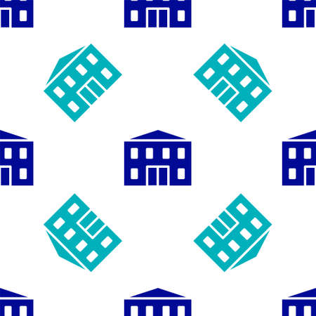 Blue School building icon isolated seamless pattern on white background. Vector Illustration