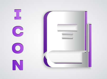 Paper cut Book icon isolated on grey background. Paper art style. Vector Illustration Vektoros illusztráció
