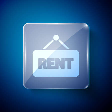 White Hanging sign with text Rent icon isolated on blue background. Signboard with text For Rent. Square glass panels. Vector Illustration