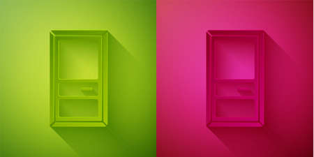 Paper cut Closed door icon isolated on green and pink background. Paper art style. Vector Illustration