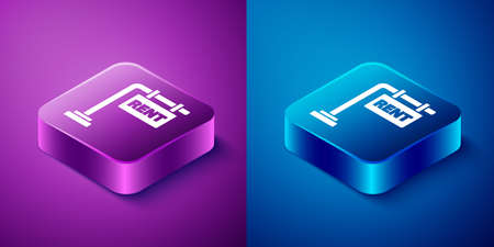 Isometric Hanging sign with text Rent icon isolated on blue and purple background. Signboard with text For Rent. Square button. Vector Illustration