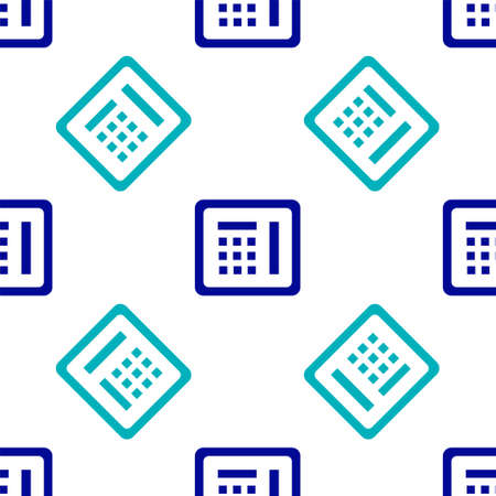 Blue Safe icon isolated seamless pattern on white background. The door safe a bank vault with a combination lock. Reliable Data Protection. Vector Illustration