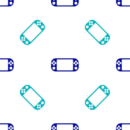 Blue Portable video game console icon isolated seamless pattern on white background. Gamepad sign. Gaming concept. Vector Illustration