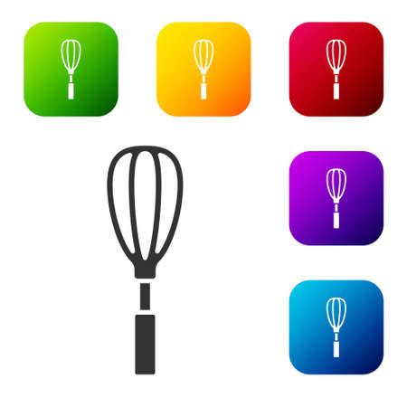 Black Kitchen whisk icon isolated on white background. Cooking utensil, egg beater. Cutlery sign. Food mix symbol. Set icons in color square buttons. Vector Illustration