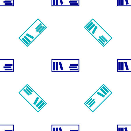 Blue Shelf with books icon isolated seamless pattern on white background. Shelves sign. Vector Illustration
