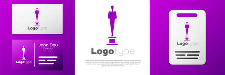 Logotype Movie trophy icon isolated on white background. Academy award icon. Films and cinema symbol. Logo design template element. Vector Illustration Illustration