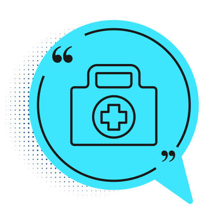 Black line First aid kit icon isolated on white background. Medical box with cross. Medical equipment for emergency. Healthcare concept. Blue speech bubble symbol. Vector Illustration