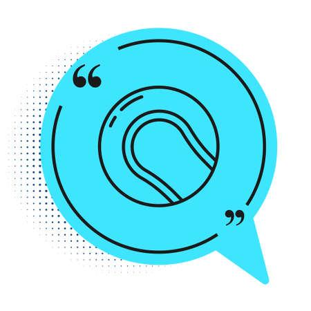 Black line Baseball ball icon isolated on white background. Blue speech bubble symbol. Vector Illustration