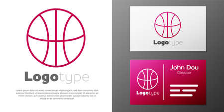 Logotype line Basketball ball icon isolated on white background. Sport symbol. Logo design template element. Vector Illustration
