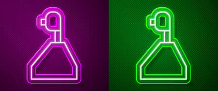 Glowing neon line Gear shifter icon isolated on purple and green background. Transmission icon. Vector Illustration