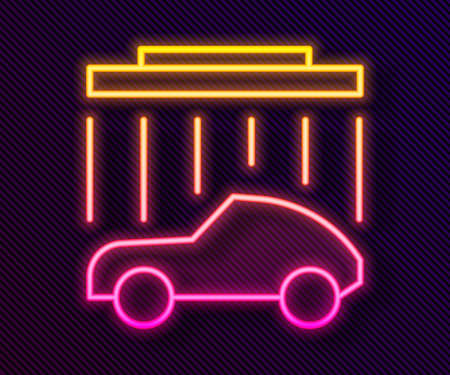 Glowing neon line Car wash icon isolated on black background. Carwash service and water cloud icon. Vector Illustration