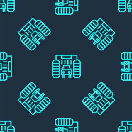 Green line Car wash icon isolated seamless pattern on blue background. Carwash service and water cloud icon. Vector Illustration
