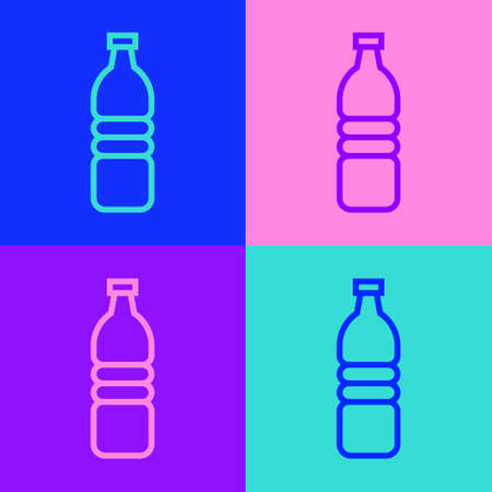 Pop art line Bottle of water icon isolated on color background. Soda aqua drink sign. Vector Illustration