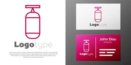 Logotype line Punching bag icon isolated on white background. Logo design template element. Vector Illustration