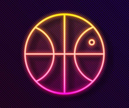 Glowing neon line Basketball ball icon isolated on black background. Sport symbol. Vector Illustration Иллюстрация