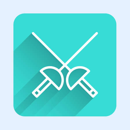 White line Fencing icon isolated with long shadow. Sport equipment. Green square button. Vector Illustration