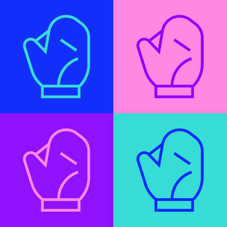 Pop art line Baseball glove icon isolated on color background. Vector Illustration