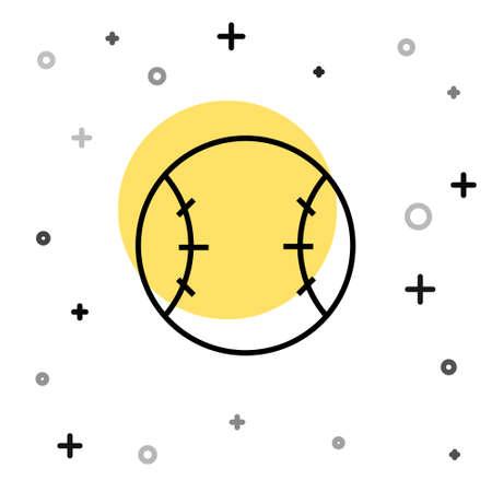 Black line Baseball ball icon isolated on white background. Random dynamic shapes. Vector Illustration