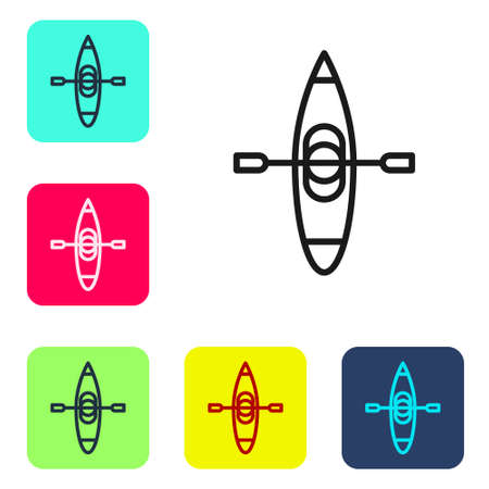 Black line Kayak and paddle icon isolated on white background. Kayak and canoe for fishing and tourism. Outdoor activities. Set icons in color square buttons. Vector Illustration