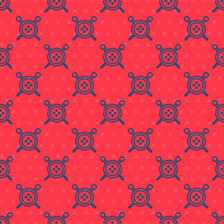 Blue line Sewing button and knitting needles icon isolated seamless pattern on red background. Clothing button. Vector Illustration