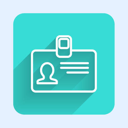 White line Identification badge icon isolated with long shadow. It can be used for presentation, identity of the company, advertising. Green square button. Vector Illustration