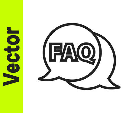 Black line Speech bubble with text FAQ information icon isolated on white background. Circle button with text FAQ. Vector Illustration