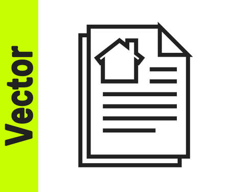 Black line House contract icon isolated on white background. Contract creation service, document formation, application form composition. Vector Illustration
