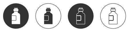 Black Bottle of medicine syrup icon isolated on white background. Circle button. Vector Illustration Vektoros illusztráció