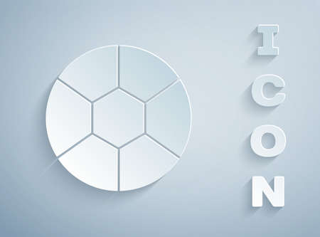 Paper cut Football ball icon isolated on grey background. Soccer ball. Sport equipment. Paper art style. Vector Illustration