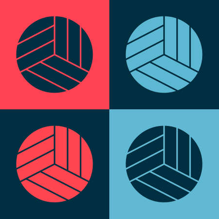 Pop art Volleyball ball icon isolated on color background. Sport equipment.  Vector Illustration Иллюстрация