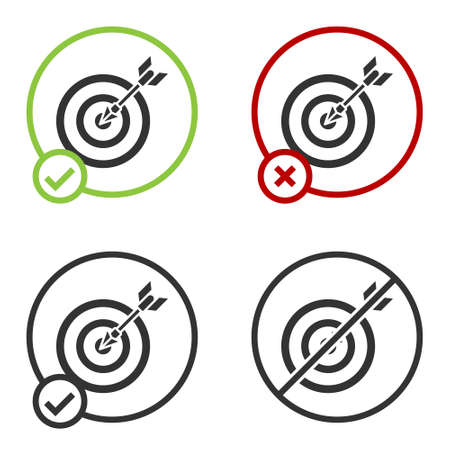 Black Target with arrow icon isolated on white background. Dart board sign. Archery board icon. Dartboard sign. Business goal concept. Circle button. Vector Illustration