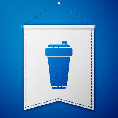 Blue Fitness shaker icon isolated on blue background. Sports shaker bottle with lid for water and protein cocktails. White pennant template. Vector Illustration
