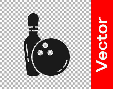 Black Bowling pin and ball icon isolated on transparent background. Sport equipment. Vector Illustration Ilustração