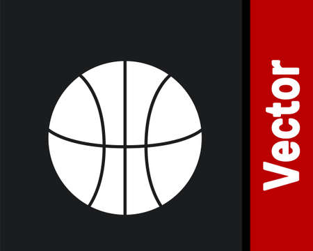 White Basketball ball icon isolated on black background. Sport symbol.  Vector Illustration Illustration
