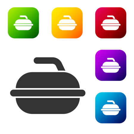 Black Stone for curling sport game icon isolated on white background. Sport equipment. Set icons in color square buttons. Vector Illustration Ilustração