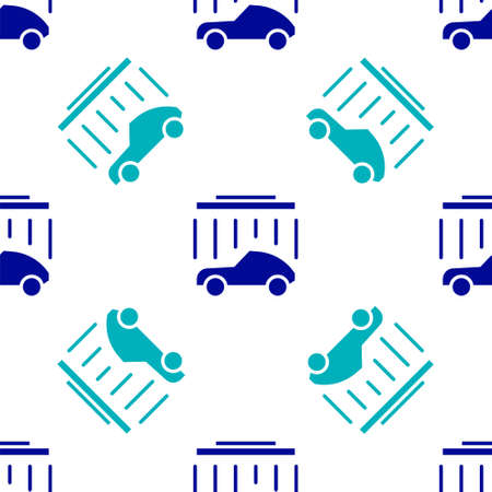 Blue Car wash icon isolated seamless pattern on white background. Carwash service and water cloud icon. Vector Illustration Illustration