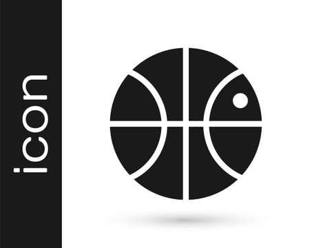 Grey Basketball ball icon isolated on white background. Sport symbol. Vector Illustration Иллюстрация