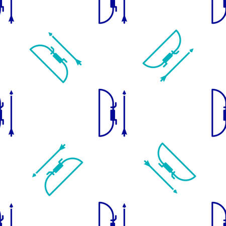 Blue Bow and arrow in quiver icon isolated seamless pattern on white background. Vector Illustration Ilustração