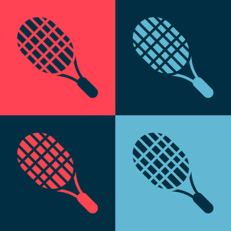 Pop art Tennis racket icon isolated on color background. Sport equipment. Vector Illustration