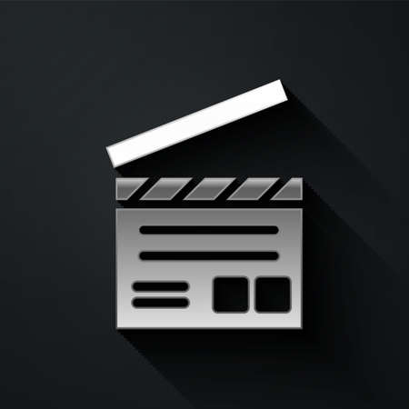 Silver Movie clapper icon isolated on black background. Film clapper board. Clapperboard sign. Cinema production or media industry. Long shadow style. Vector Illustration 向量圖像