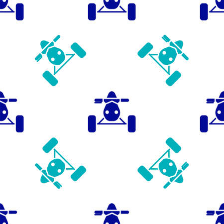Blue All Terrain Vehicle or ATV motorcycle icon isolated seamless pattern on white background. Quad bike. Extreme sport. Vector Illustration