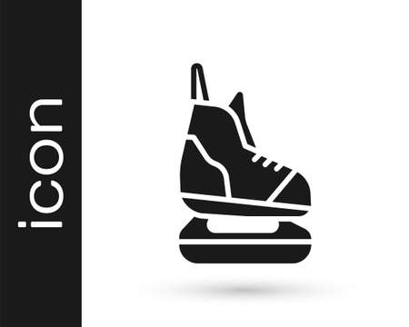 Grey Skates icon isolated on white background. Ice skate shoes icon. Sport boots with blades. Vector Illustration