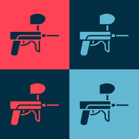 Pop art Paintball gun icon isolated on color background. Vector Illustration Ilustração
