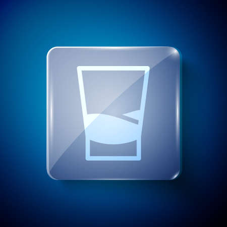 White Glass of vodka icon isolated on blue background. Square glass panels. Vector Illustration Иллюстрация