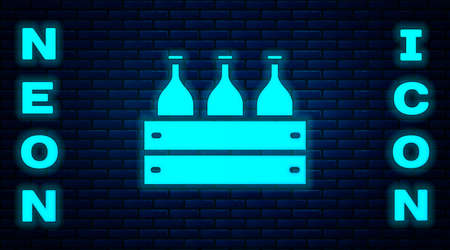 Glowing neon Bottles of wine in a wooden box icon isolated on brick wall background. Wine bottles in a wooden crate icon. Vector Illustration Standard-Bild - 146376928