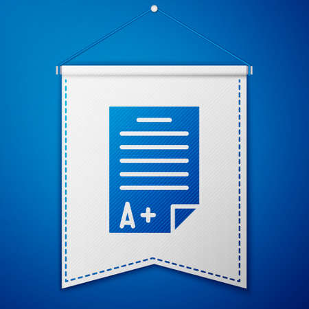 Blue Exam sheet with A plus grade icon isolated on blue background. Test paper, exam, or survey concept. School test or exam. White pennant template. Vector Illustration