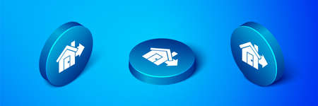Isometric Sale house icon isolated on blue background. Buy house concept. Home loan concept, rent, buying a property. Blue circle button. Vector Illustration