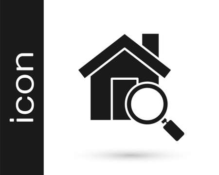 Grey Search house icon isolated on white background. Real estate symbol of a house under magnifying glass. Vector Illustration